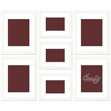 "Craig Frames 1"" Wide Modern Satin White Wall Collage Photo Frame Lot, Set of (7)"