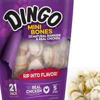 DOG CHEWS MINI Bones Treats Natural Rawhide And Real Chicken 21-Count