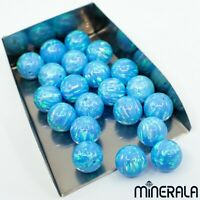 [WHOLESALE] SKY BLUE SYNTHETIC OPAL ROUND LOOSE BEADS FULL DRILLED [WP000CC]