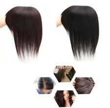 Handmade Straight 100% Remy Human Hair Topper Toupee Hairpiece with Flat Bangs