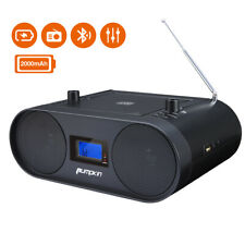 More details for portable cd player fm radio stereo boombox bluetooth built-in battery usb black