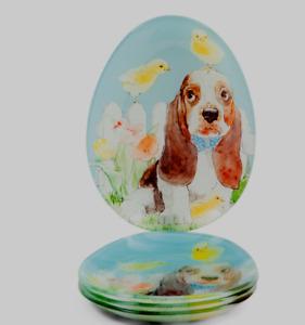 Easter Beagle Plates Set of 4 Appetizer or Dessert Spring Baby Chicks Flowers