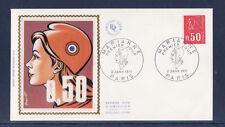 enveloppe 1er jour  Marianne de Bequet   50c  rouge   75  Paris   1971