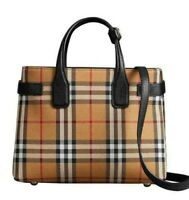 NEW BURBERRY VINTAGE CHECK BLACK LEATHER SMALL BANNER TOTE BAG AUTHENTIC