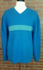 Men's Gap XXL Lambswool Striped Sweater Blue Green New with Tags V Neck