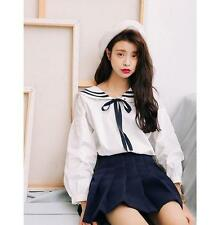 Newly Harajuku Sailor Style Mori Girls Navy Bowknot Loose Blouse T shirt Tops