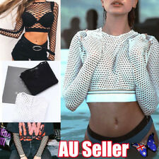 Fashion Womens Crop Top All Mesh Fishnet Long Sleeve Stretch Vest T Shirt NEW bo
