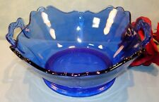 L.E. Smith Mt. Pleasant Double Shield Cobalt Double Handled Bowl, 8""