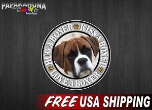 "2 KISS LOVE HUG A BOXER 5"" Vinyl Graphics Decals Dog Puppie Car Window Stickers"