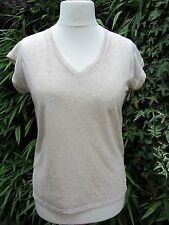 Ladies Cream Short Sleeved Linen Mix T-Shirt Size 10