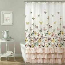 Shabby Chic Pink Ruffle Butterfly Print Shower Curtain + 12 Hooks 180x180cm