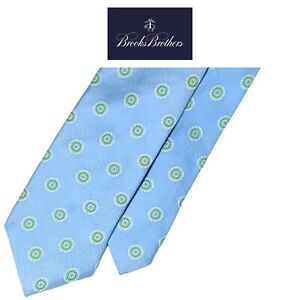 Brooks Brothers Makers & Mechants Lite Blue Tie-Green White Floral 100% Silk NWT