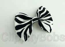 "LADIES HANDMADE 4"" CREAM BLACK WHITE ZEBRA STRIPED FABRIC BOW HAIR CLIP HEADBAND"