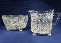 1930s pressed glass sauger bowl and cream /milk set