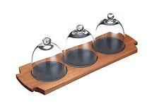 Artesa 3 Glass Dome, Wood & Slate Appetiser or Dessert Assiette Serving Platter