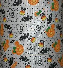 "5 yds 7.8"" MICKEY MOUSE HALLOWEEN PUMPKIN AND GHOST GROSGRAIN RIBBON"