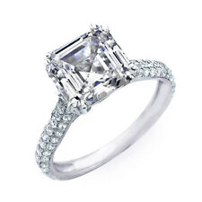 3.00 Ct Micro Pave Asscher Cut Diamond Engagement Ring I, VS1 EGL USA Certified