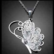 Silver Plated 925 3D Butterfly Clear Crystal CZ Dangle Pendant Necklace Gift 877