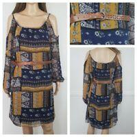 ❤️F&F blue brown floral paisley batik bohemian belted shift dress size 16 1296