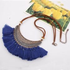 Fashion Womens Bib Choker Chunk Vintage Tassel Pendant Necklaces Leather Chain