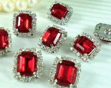 8 Sparkling Clear/Red Rhinestone Metal Buttons #S490