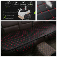 Black PU Leather Car Back Seat Cover Rear Bench Cushion Mat Red Seam Universal