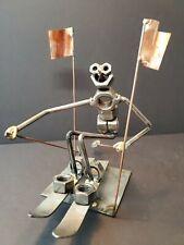 Vintage Steampunk Kinetic Art Bolt Figurine Snow Skiier Artist Romano 1989
