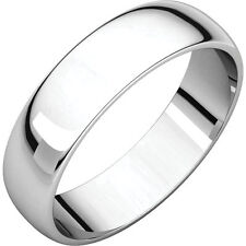 5mm 14K Solid White Gold Plain Dome Half Round Comfort Fit Wedding Band Size 7