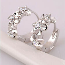 1 Pair Fashion Women Silver Plated Hoop Flower Crystal Clip Stud Earrings Party