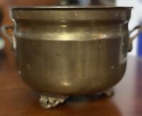 Antique BRASS PLANTER, Scalloped & Ornate Feet & Handles, Made In India, Patina