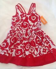 New Gymboree Parisian Afternoon Red Floral Dress Rosette Chic Size 4
