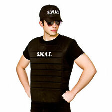 Adult Black SWAT Team Vest and Cap Hat Cop FBI American Fancy Dress Costume Set