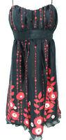 Speechless Women's Dress Size 9 Black / Red Floral Spaghetti Strap Empire Waist