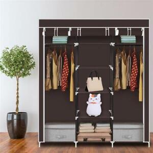 "69"" Portable Clothes Non-Woven Fabric Wardrobe Double Rod Storage Organizer"