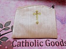 Cream Bamboo Textured - Zipper  - Rosary or Chaplet Pouch with Lining