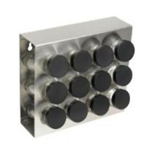 Prodyne Stainless Steel Spice Rack 12Bottle Black Lid - M912