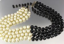 VINTAGE 50'S MULTI 4 STRAND BLACK CRYSTAL GLASS AND WHITE PLASTIC BEAD NECKLACE