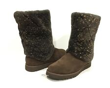 UGG 1015638 MICHY LUXE QUILT WOMEN'S BOOTS CHOCOLATE BROWN SUEDE -US SIZE 7 -NEW