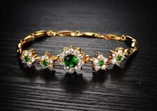 18K Yellow gold GF Lab Diamond Accent Green Emerald Soild Bangle bracelet