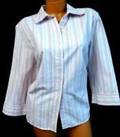 Karen scott pink blue striped 3/4 sleeves women's button down shirt top 1X