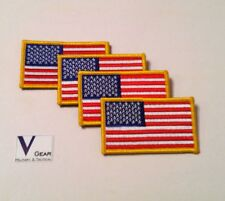 US USA American Flag patch GOLD Border HOOK style  LOT of 4