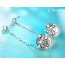 Butterfly Drop/Dangle White Gold Filled Fashion Earrings