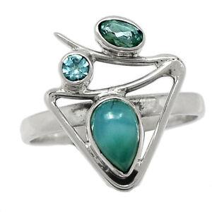 Genuine Larimar - Dominican Republic & Blue Topaz 925 Silver Ring s.8.5 BR100189