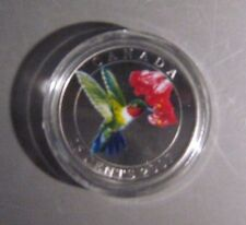 2007 Canada 25 Cents Ruby Throat Humming Bird Colored Box *FREE U.S. SHIPPING*