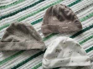 Set Of 3 Carters Baby Hats Size 0 To 3 Months