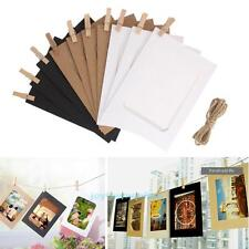10Pcs Paper Photo Frame DIY Wall Hanging Picture Album+Rope Clips Set Home Decor