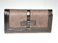 Portefeuille MARRON  femme faux cuir porte-monnaie clutch sac à main vernis G3