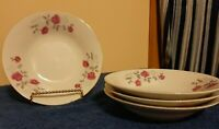 4 Fine China Dinnerware Moss Rose Design 8''soup/cereal bowls Gold Trim