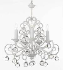 Bellora Iron and Crystal White Chandelier Lighting with Faceted Crystal Balls