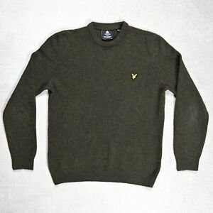Mens Lyle & Scott 100% Lambs Wool Knitted Jumper size SMALL Sweater Crew neck